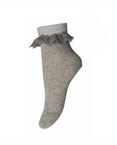 ANKLESOCK WITH TRIMMED GREY