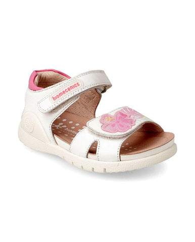 BIOMECANICS GIRL SANDALS BLANCO Y FLORES (SAUVAGE Y ESTAMPADO) BIO-192165-A-WHITE