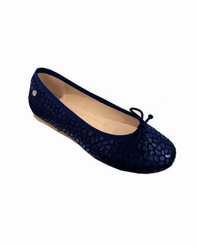 MANUELA DE JUAN GIRLS BLUE LEATHER BALLERINA PUMPS