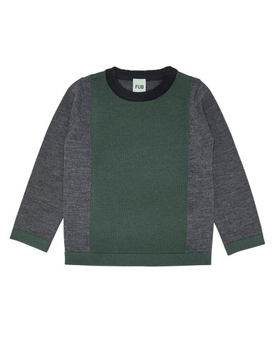 FUB CONTRAST BLOUSE GREY/GREEN