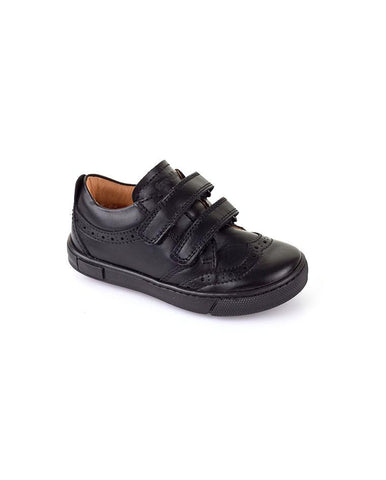 BOYS BLACK PATENT SCHOOL SHOES WITH PATTERN