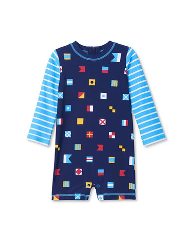 HATLEY NAUTICAL FLAGS BABY ONE-PIECE RASHGUARD
