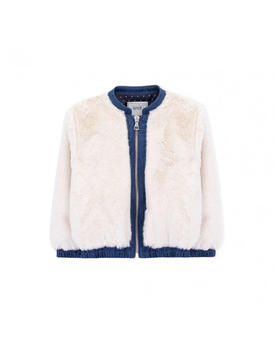 KNOT CONSTANCE FUR AND DENIM BOMBER MOONBEARN SAND