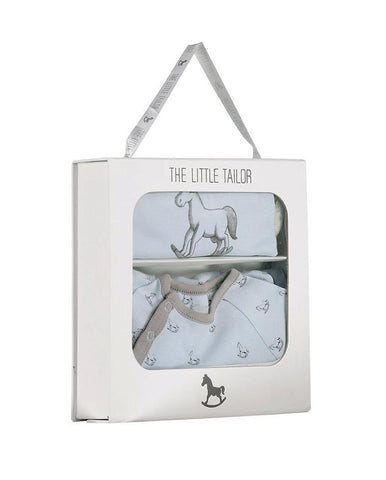 LITTLE TAILOR AOP ROCKING HORSE JERSEY SLEEPSUIT & BIB GIFT SET BLUE
