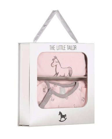 LITTLE TAILOR AOP ROCKING HORSE JERSEY SLEEPSUIT & BIB GIFT SET PINK
