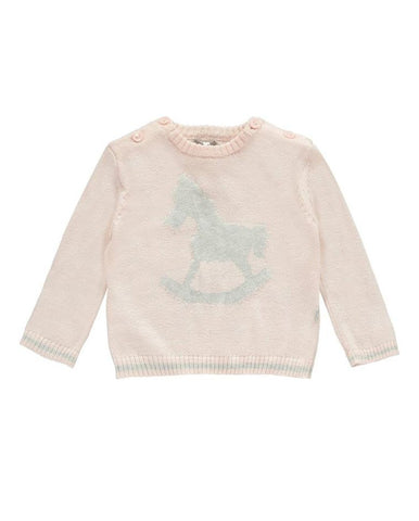 LITTLE TAILOR ROCKING HORSE JUMPER PINK