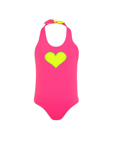 SUNUVA GIRLS HOT PINK/MINT GREEN HEART REVERSIBLE HALTER TIE SWIMSU
