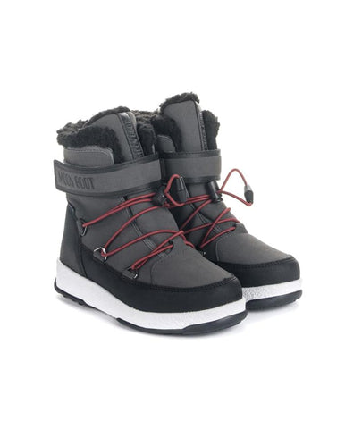 MOON BOOT JR BOY BOOT WP BLACK/CASTLEROCK