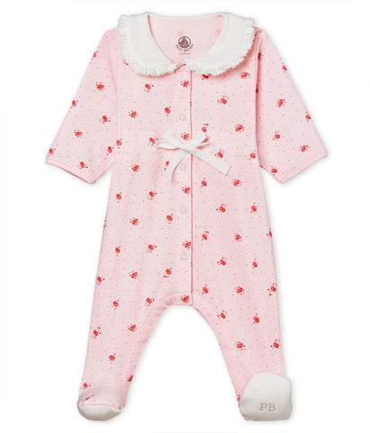 PETIT BATEAU BABY GIRLS' SLEEPSUIT IN PRINTED 1X1 RIB KNIT