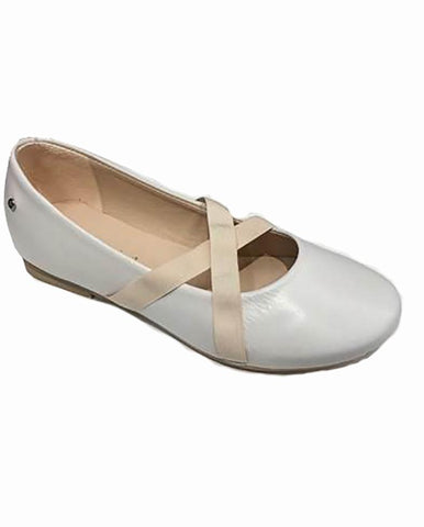 MANUELA DE JUAN GIRLS IVORY LEATHER BALLERINA PUMPS