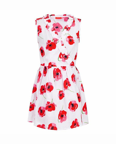 GIRLS WRAP DRESS POPPY