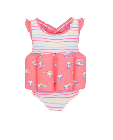SUNUVA GIRLS MULTI STRIPE SNOOPY FLOATSUIT