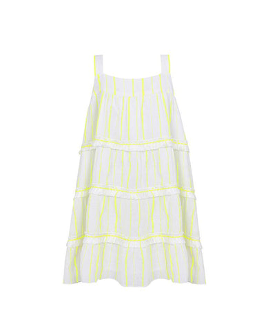 SUNUVA GIRLS NEON YELLOW STRIPE FRINGED TIER DRESS