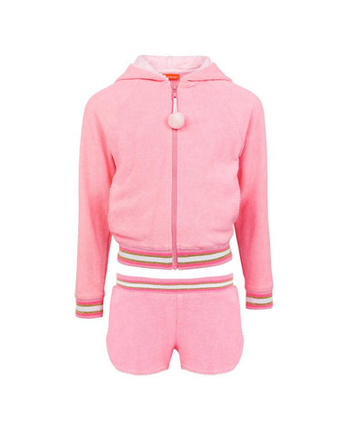 SUNUVA GIRLS PINK LONG SLEEVE TOWELLING SHORT SET