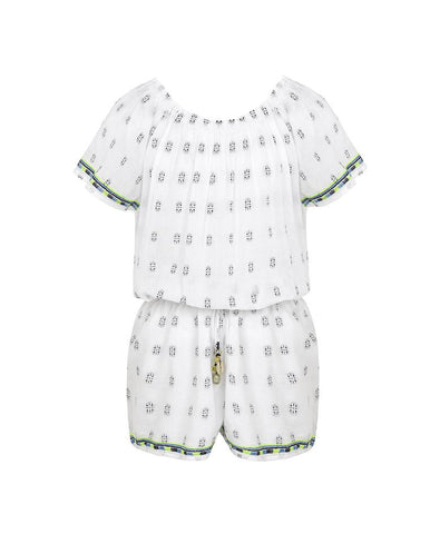 SUNUVA GIRLS WHITE EMBROIDERED OFF SHOULDER PLAYSUIT