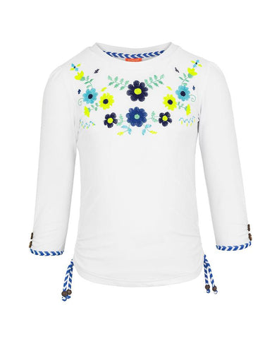 SUNUVA GIRLS WHITE MEXICANA LONG SLEEVE RASH VEST