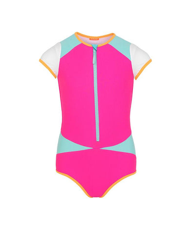 SUNUVA TEEN GIRLS PINK COLOUR BLOCK SURF SUIT