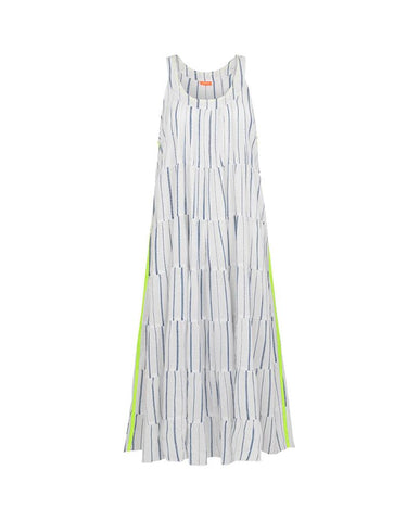 SUNUVA WOMENS BLUE WITH NEON STRIP MAXI DRESS