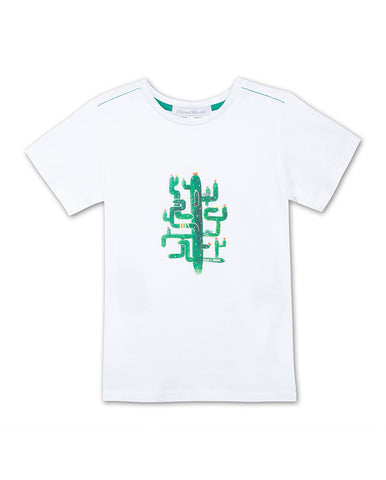 WHITE T-SHIRT WITH CACTUS
