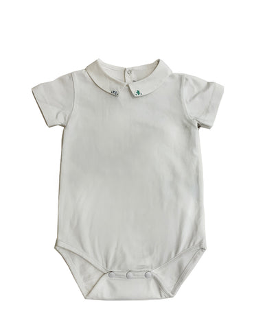 TARTINE ET CHOCOLAT BOYS WHITE CACTUS BODYSUIT WITH POINTED COLLAR AND TC LOGO