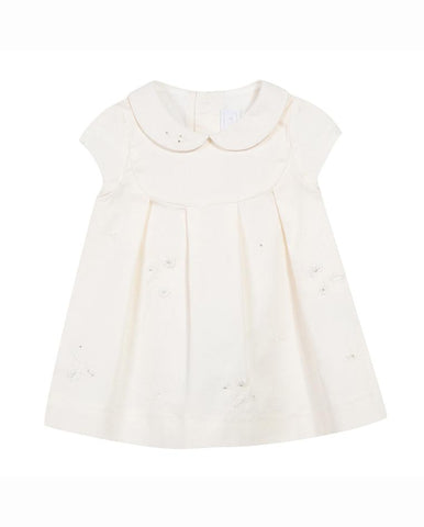 TARTINE ET CHOCOLAT BABY GIRL'S MOTHER-OF-PEARL DRESS FLOWER EMBROIDERY