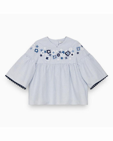 CORNFLOWER TUNIC WITH EMBROIDERED FLOWERS