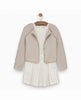BEIGE RUFFLED CARDIGAN