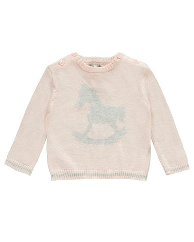 THE LITTLE TAILOR ROCKING HORSE JUMPER PINK