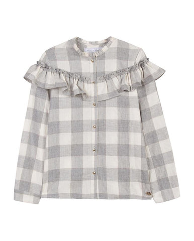 TARTINE ET CHOCOLAT GIRLS PEARLY CHEQUE SHIRT