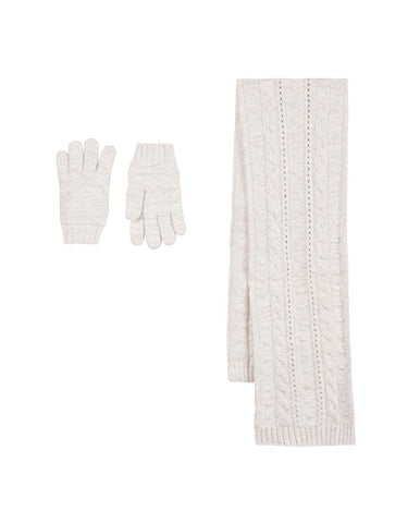 TARTINE ET CHOCOLAT PEARLY SET OF SCARF AND GLOVES