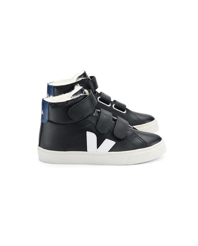 VEJA JUNIOR SMALL ESPLAR MID FURED LEATHER BLACK WHITE COBALT