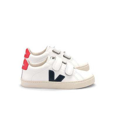 VEJA SMALL ESPLAR VELCRO LEATHER EXTRA-WHITE NAUTICO PEKIN