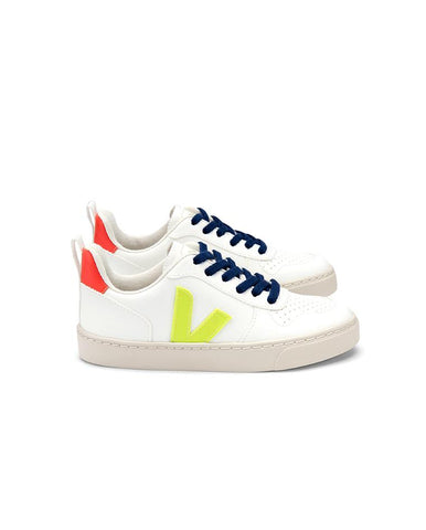 VEJA SMALL-V-10-LACE CWL WHITE-JAUNE-FLUO-ORANGE-FLUO JUNIOR