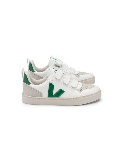 VEJA SMALL-V-10-VELCRO CWL WHITE-EMERAUDE JUNIOR