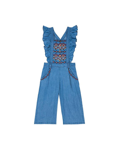 VELVETEEN GLORIA: WIDE LEG DUNGAREE WITH EMBROIDERY
