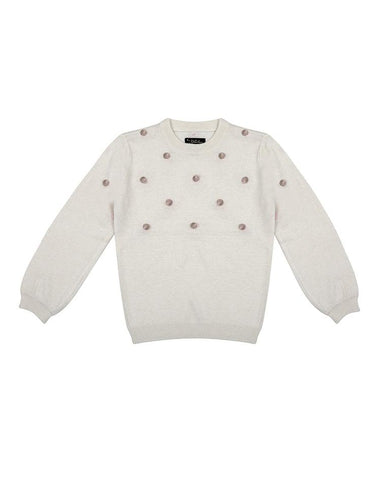 VELVETEEN HAZEL - CREW NECK KNIT JUMPER WITH POM POMS
