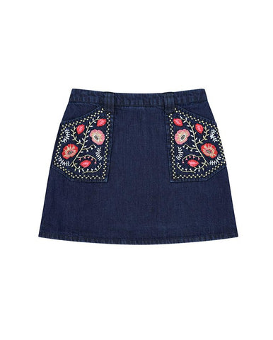 VELVETEEN RHEA - A-LINE SKIRT W/ EMBROIDERED POCKETS