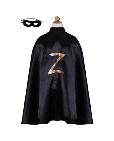 ZORRO CAPE W/MASK, BLACK / 5-6 YEARS