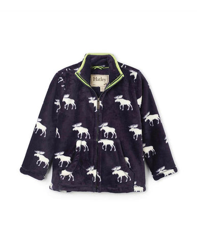 HATLEY MOOSE SILHOUETTES FUZZY FLEECE ZIP UP