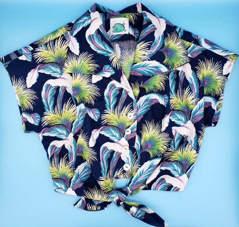 Tropical feather tie top