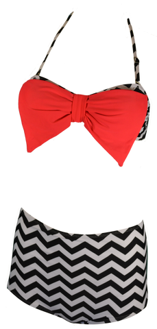Chevron High Waist Bikini with Bow detail