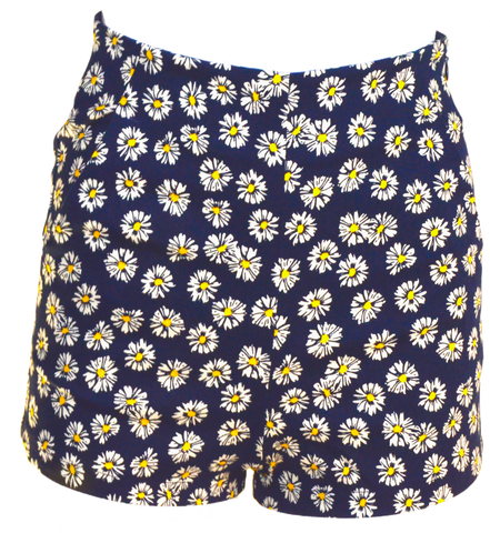 High-Waisted Navy Daisy Shorts