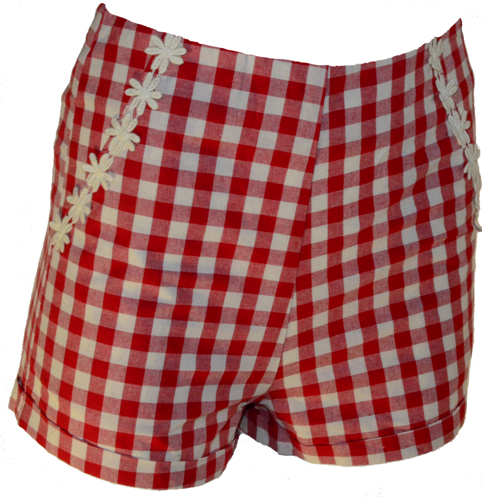 Red High-waisted Gingham Shorts with Daisy Trim