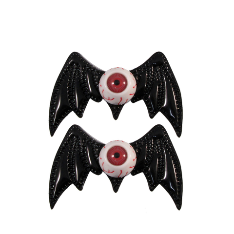 Batty Eye Bow Slides Black