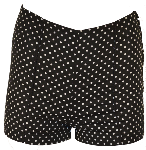 Black Polka Dot Shorts with Piping Detail