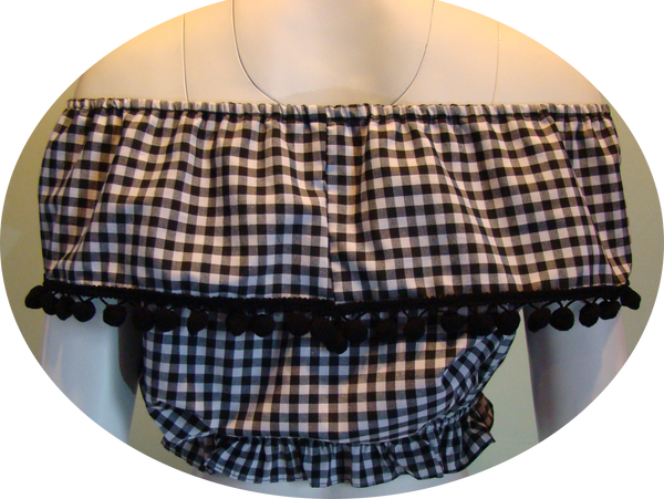 Black Gingham Ruffle Top with Pom Poms