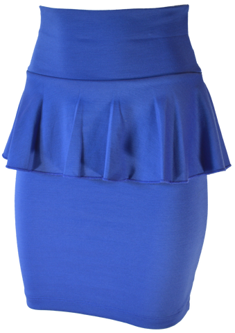 Royal Blue Pemplum Pencil Skirt