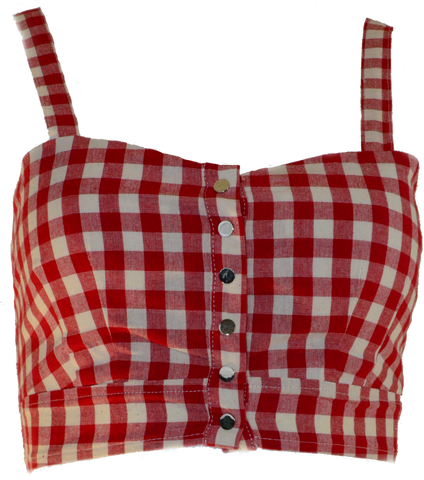 Red Gingham Crop Top