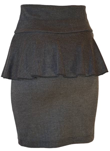 Grey Pemplum Pencil Skirt
