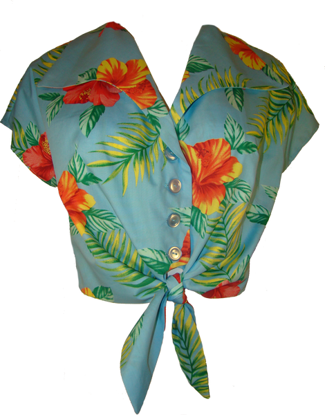 Hawaiian Floral Tie Up Crop Blouse